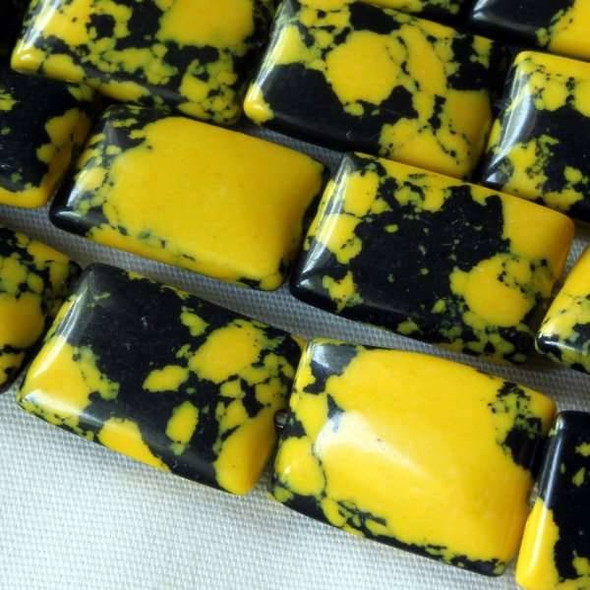 Synthetic Team Color 10x14mm Yellow and Black Rectangle Beads - approx. 8 inch strand