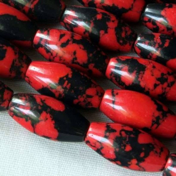 Synthetic Team Color 7x14mm Red and Black Rice - approx. 8 inch strand