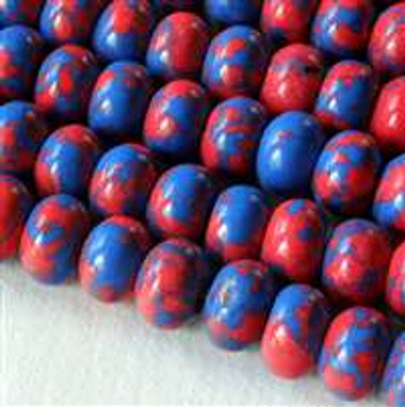 Synthetic Team Color 8mm Blue and Red Rondelle - approx. 8 inch strand