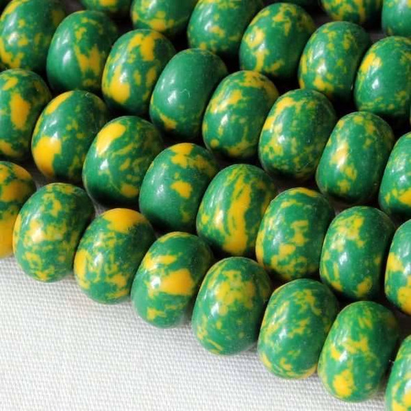 Synthetic Team Color 8mm Green and Yellow Rondelle - approx. 8 inch strand
