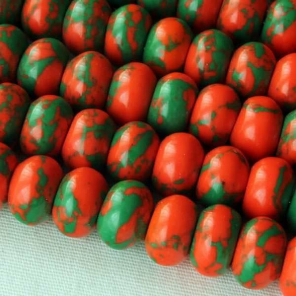 Synthetic Team Color 8mm Orange and Green Rondelle - approx. 8 inch strand