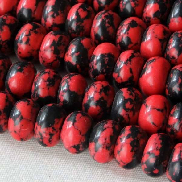Synthetic Team Color 8mm Red and Black Rondelle - approx. 8 inch strand