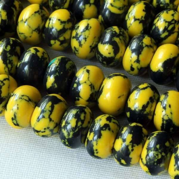 Synthetic Team Color 8mm Yellow and Black Rondelle - approx. 8 inch strand