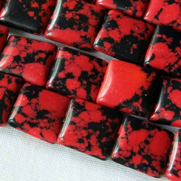 Synthetic Team Color 10mm Red and Black Square - approx. 8 inch strand