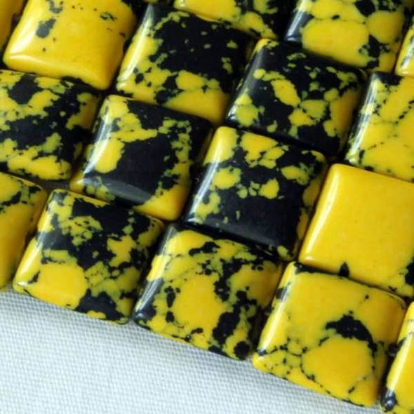 Synthetic Team Color 10mm Yellow and Black Square - approx. 8 inch strand