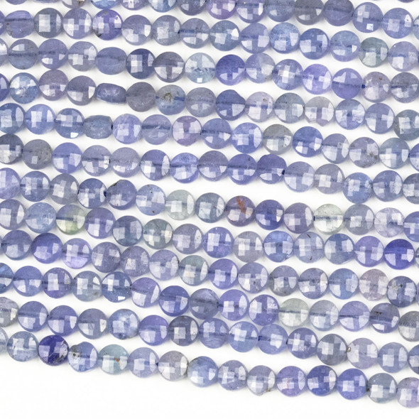 Tanzanite 4mm Micro Faceted Coin Beads - 15 inch strand