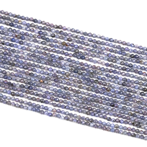 Tanzanite 2mm Faceted Round Beads - 15 inch strand