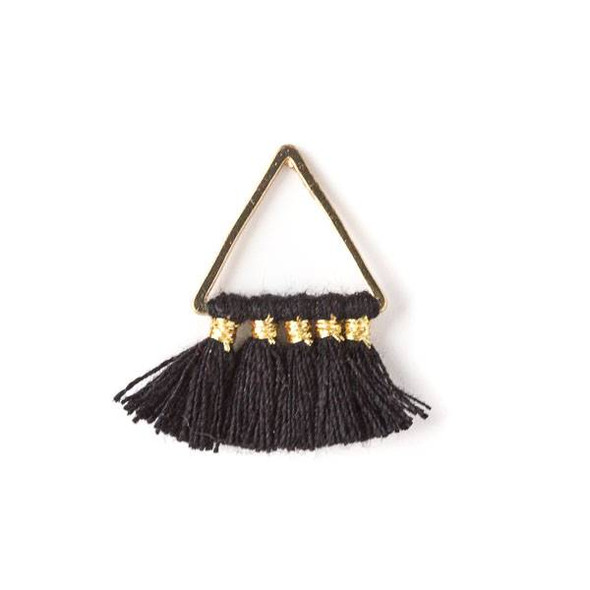 Gold Colored Brass 15mm Triangle Components with Black 10mm Nylon Tassels - 2 per bag, tascom-001
