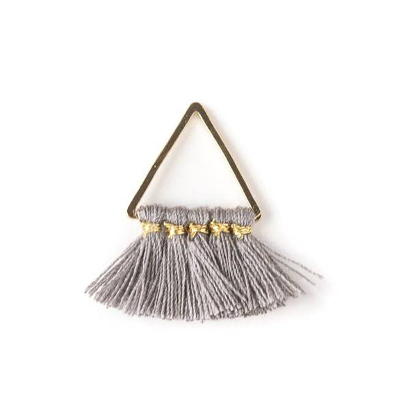 Gold Colored Brass 15mm Triangle Components with Grey 10mm Nylon Tassels - 2 per bag, tascom-002