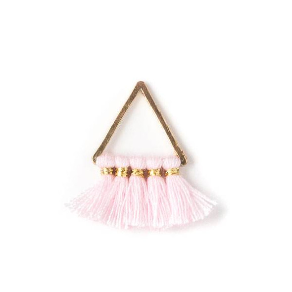 Gold Colored Brass 15mm Triangle Components with Pink 10mm Nylon Tassels - 2 per bag, tascom-004