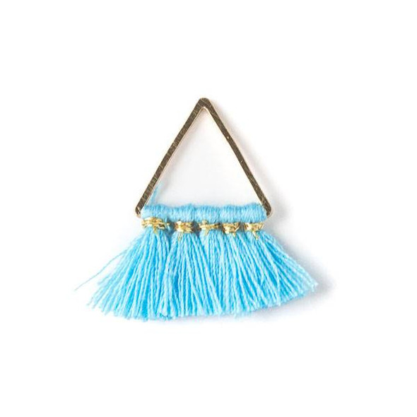 Gold Colored Brass 15mm Triangle Components with Light Blue 10mm Nylon Tassels - 2 per bag, tascom-005