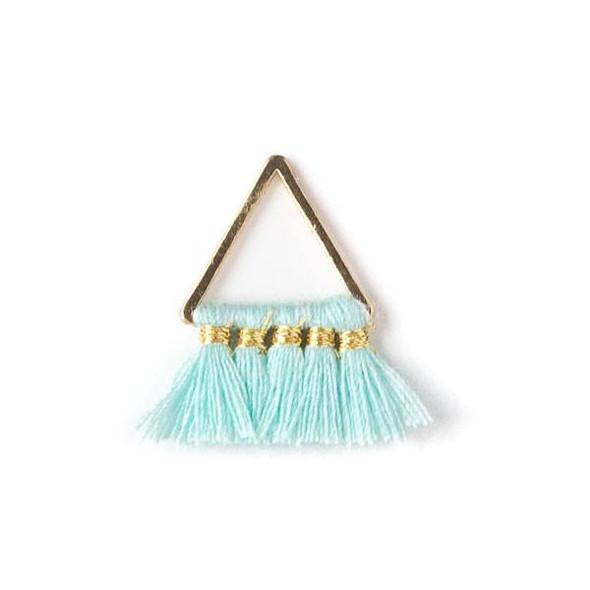 Gold Colored Brass 15mm Triangle Components with Aqua Blue 10mm Nylon Tassels - 2 per bag, tascom-007