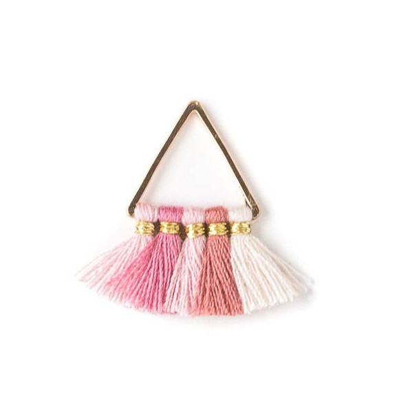 Gold Colored Brass 15mm Triangle Components with Pink and White 10mm Nylon Tassels - 2 per bag, tascom-008