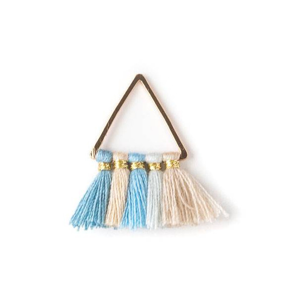 Gold Colored Brass 15mm Triangle Components with Light Blue and Tan 10mm Nylon Tassels - 2 per bag, tascom-009