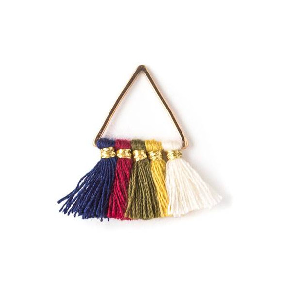Gold Colored Brass 15mm Triangle Components with Navy Blue, Red, Green, Yellow, and Cream 10mm Nylon Tassels - 2 per bag, tascom-010