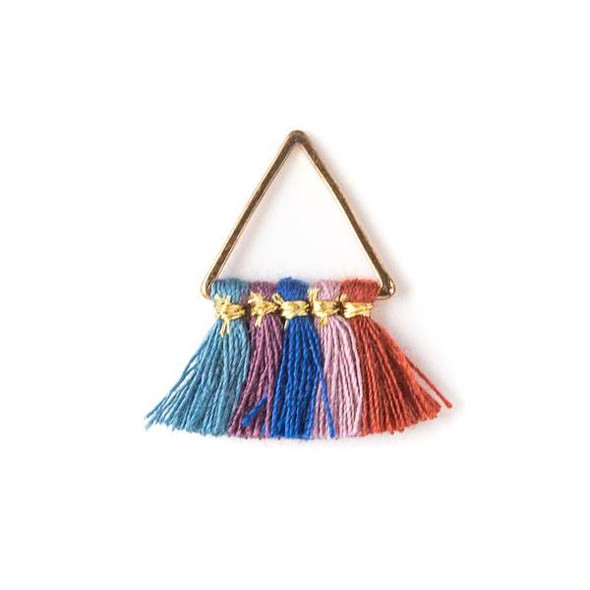 Gold Colored Brass 15mm Triangle Components with Montana Blue, Lilac Purple, Blue,  Lavender, and Coral 10mm Nylon Tassels - 2 per bag, tascom-011