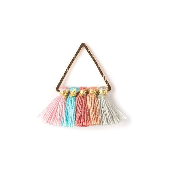 Gold Colored Brass 15mm Triangle Components with Pink, Turquoise Blue, Rose Pink, Mauve, and Light Grey 10mm Nylon Tassels - 2 per bag, tascom-014