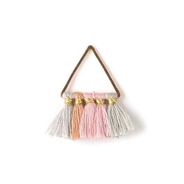 Gold Colored Brass 15mm Triangle Components with Light Grey, Mauve, Pink, and Sage Green 10mm Nylon Tassels - 2 per bag, tascom-017