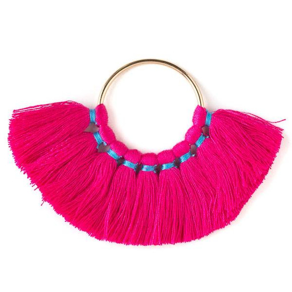 Gold Colored Brass 33mm Hoop Components with Hot Pink 30mm Nylon Tassels - 2 per bag, tascom-403