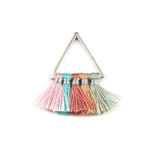 Silver Plated Brass 15mm Triangle Components with Pink, Turquoise Blue, Rose Pink, Mauve, and Light Grey 10mm Nylon Tassels - 2 per bag, tascom-CX-02