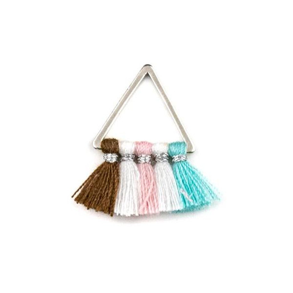 Silver Plated Brass 15mm Triangle Components with Brown, White, Pink, and Turquoise Blue 10mm Nylon Tassels - 2 per bag, tascom-CX-03
