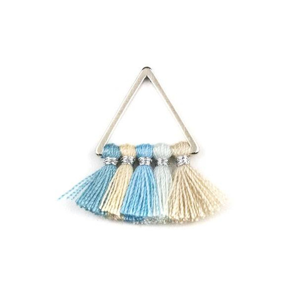 Silver Plated Brass 15mm Triangle Components with Light Blue and Tan 10mm Nylon Tassels - 2 per bag, tascom-CX-04