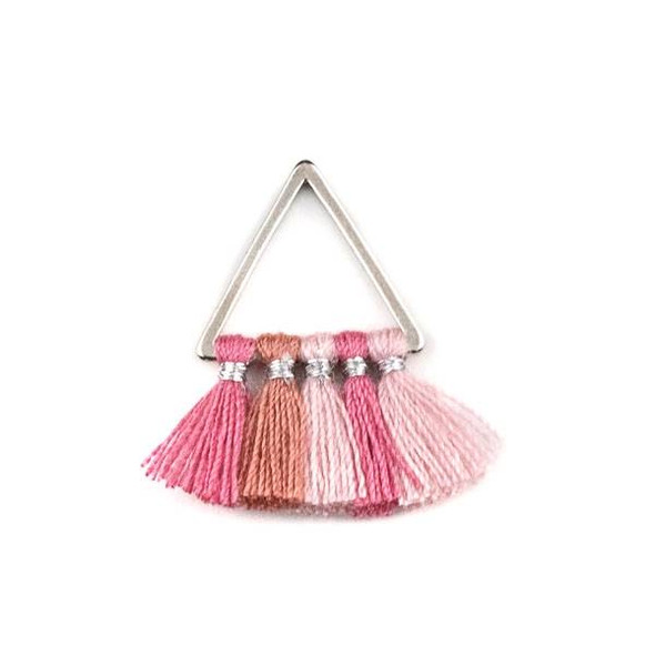Silver Plated Brass 15mm Triangle Components with Pink Ombre 10mm Nylon Tassels - 2 per bag, tascom-CX-05