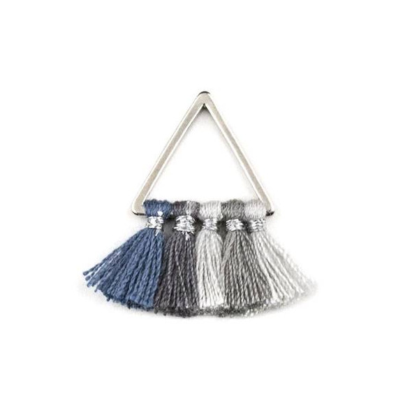 Silver Plated Brass 15mm Triangle Components with Grey Ombre 10mm Nylon Tassels - 2 per bag, tascom-CX-22