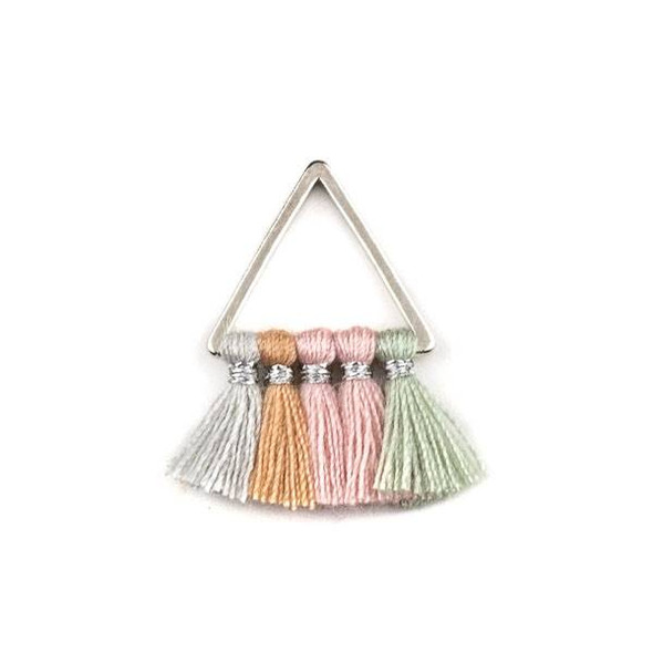 Silver Plated Brass 15mm Triangle Components with Light Grey, Mauve, Pink, and Sage Green 10mm Nylon Tassels - 2 per bag, tascom-CX-29