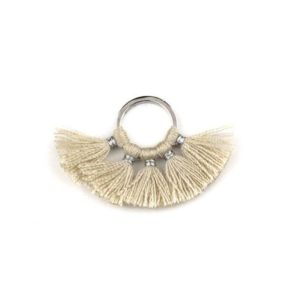 Silver Plated Brass 10mm Hoop Components with Fawn Brown 10mm Nylon Tassels - 2 per bag, Q1-02