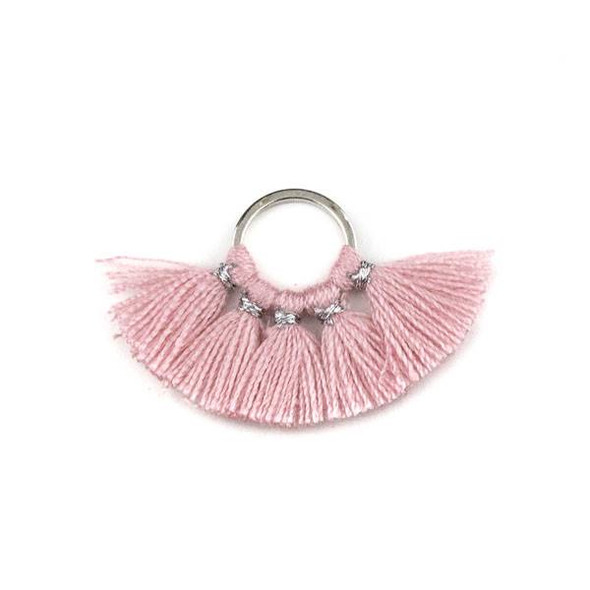 Silver Plated Brass 10mm Hoop Components with Rose Pink 10mm Nylon Tassels - 2 per bag, Q1-04
