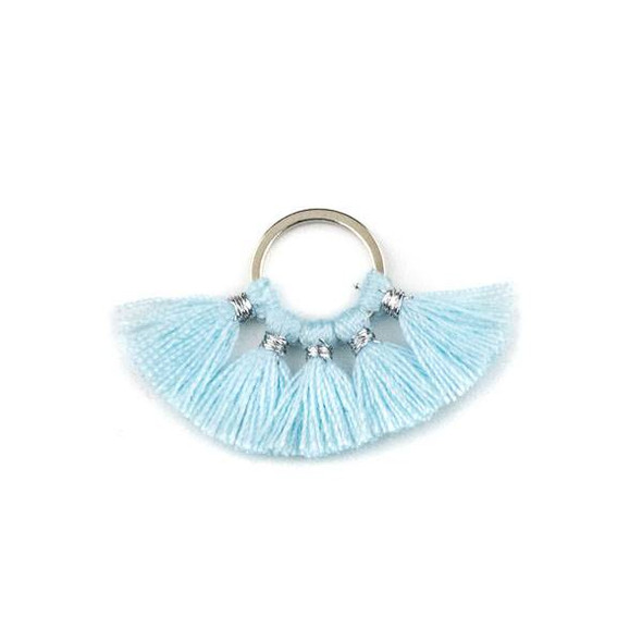 Silver Plated Brass 10mm Hoop Components with Baby Blue 10mm Nylon Tassels - 2 per bag, Q1-16