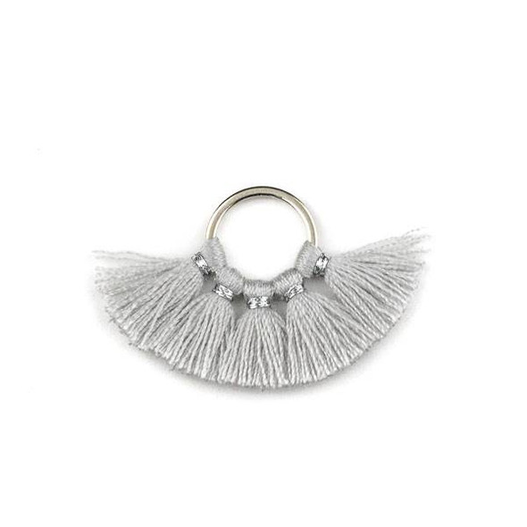 Silver Plated Brass 10mm Hoop Components with Silver Grey 10mm Nylon Tassels - 2 per bag, Q1-24