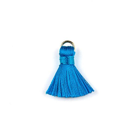 Bright Blue 2 cm Tiny Nylon Tassels with a 6mm Gold Plated Brass Open Jump Ring - 6 per bag