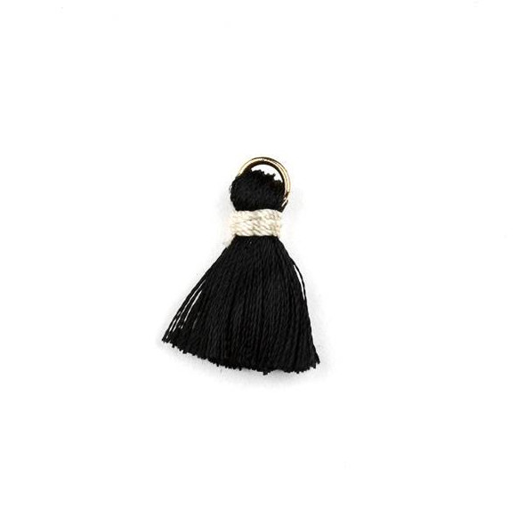 Black with Taupe 2 cm Tiny Nylon Tassels with a 6mm Gold Plated Brass Open Jump Ring - 6 per bag