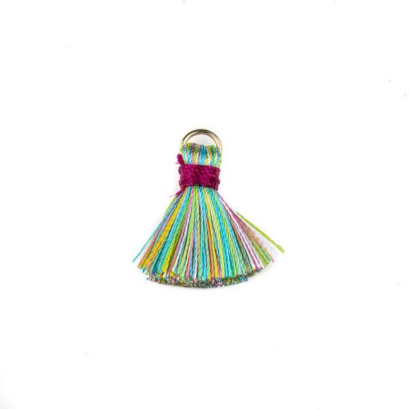 Bright Mix with Hot Pink 2 cm Tiny Nylon Tassels with a 6mm Gold Plated Brass Open Jump Ring - 6 per bag