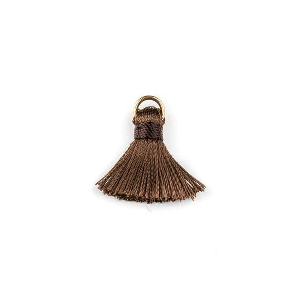 Brown 2 cm Tiny Nylon Tassels with a 6mm Gold Plated Brass Open Jump Ring - 6 per bag