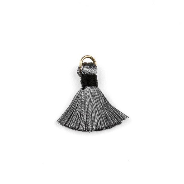 Grey with Black 2 cm Tiny Nylon Tassels with a 6mm Gold Plated Brass Open Jump Ring - 6 per bag