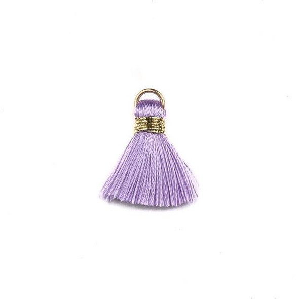 Lavender Purple with Gold 2 cm Tiny Nylon Tassels with a 6mm Gold Plated Brass Open Jump Ring - 6 per bag