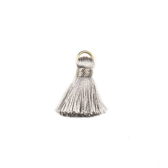 Light Grey 2 cm Tiny Nylon Tassels with a 6mm Gold Plated Brass Open Jump Ring - 6 per bag