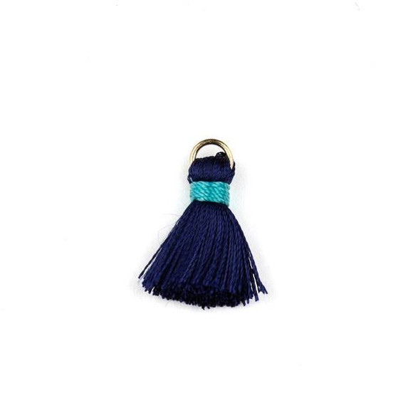 Navy with Turquoise Blue 2 cm Tiny Nylon Tassels with a 6mm Gold Plated Brass Open Jump Ring - 6 per bag