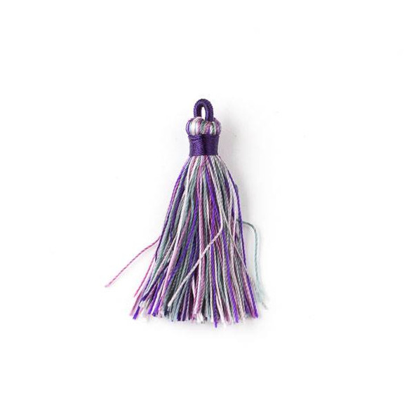 "Multicolor Amethyst 1.5"" Nylon Tassels - 2 per bag"