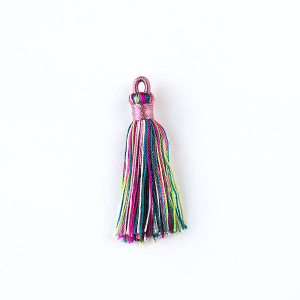 "Multicolor Mardi Gras 1.5"" Nylon Tassels with a Pink Top - 2 per bag"