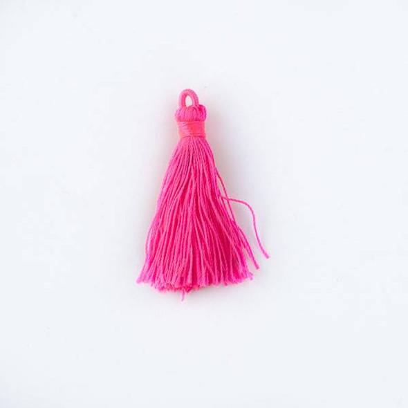 "Neon Pink 1.5"" Nylon Tassels - 2 per bag"