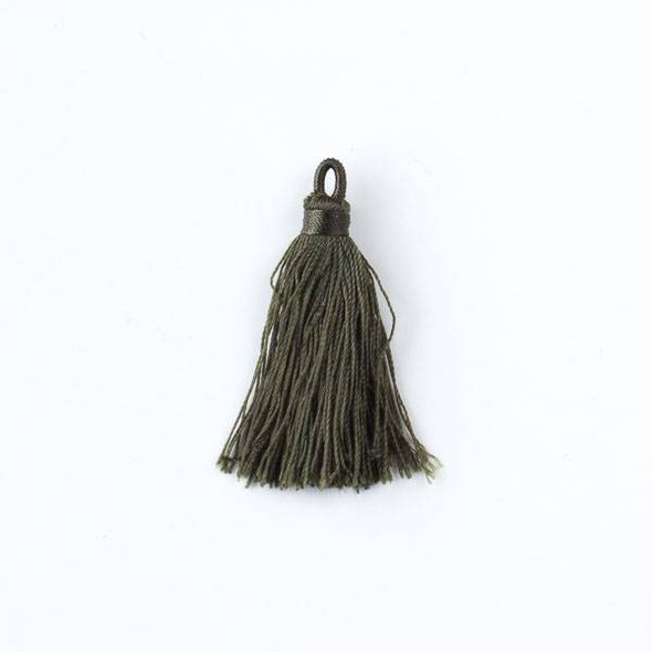 "Olive Green 1.5"" Nylon Tassels - 2 per bag"
