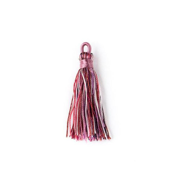 "Multicolor Wineberry 1.5"" Nylon Tassels with a Pink Top - 2 per bag"