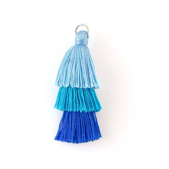 "Blue Ombre 3 Layered 2"" Nylon Tassels with a 7mm Silver Jump Ring - 2 per bag"