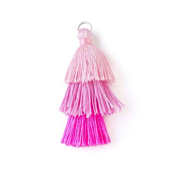 """Bright Pink Ombre 3 Layered 2"""" Nylon Tassels with a 7mm Silver Jump Ring - 2 per bag"""
