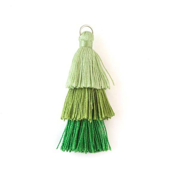 "Green Ombre 3 Layered 2"" Nylon Tassels with a 7mm Silver Jump Ring - 2 per bag"