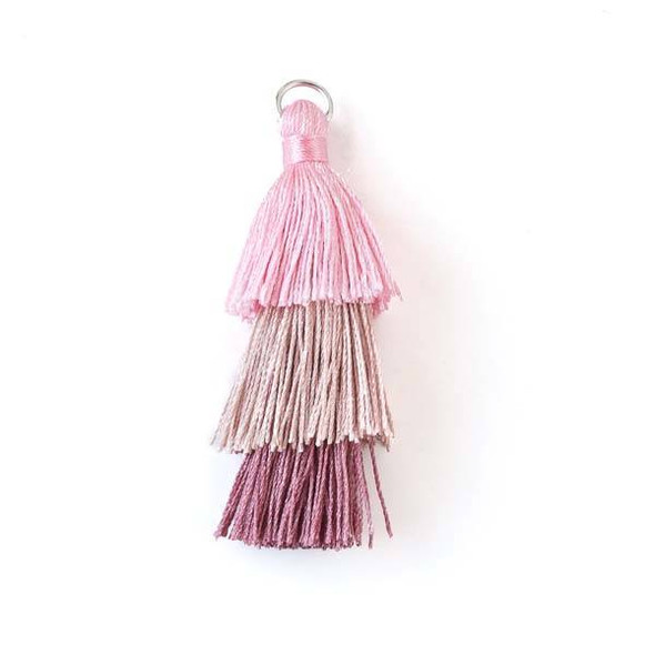 """Pink Ombre 3 Layered 2"""" Nylon Tassels with a 7mm Silver Jump Ring - 2 per bag"""